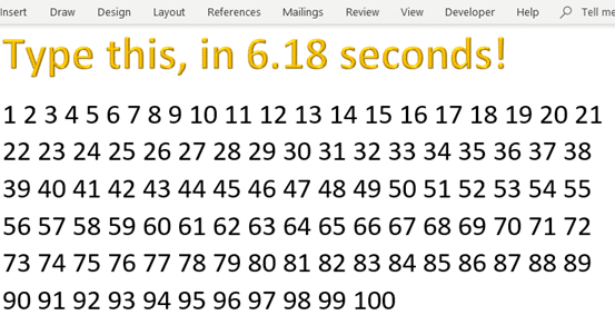 1 to 100 in 6 18 seconds speed running with microsoft word office 2013 24447 - 1 to 100 in 6.18 seconds, speed running with Microsoft Word