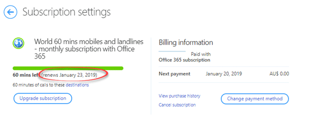 "about skype email your existing subscription world 60 mins mobiles and landlines 1 month with office 365 has expired 25412 - About Skype email ""your existing subscription World 60 mins mobiles and landlines - 1 month with Office 365* has expired."""