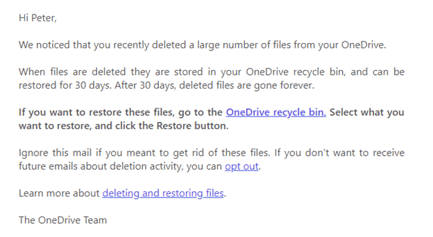beware fake office 365 onedrive file deletion alerts office 365 28540 - Beware – fake Office 365 / OneDrive file deletion alerts
