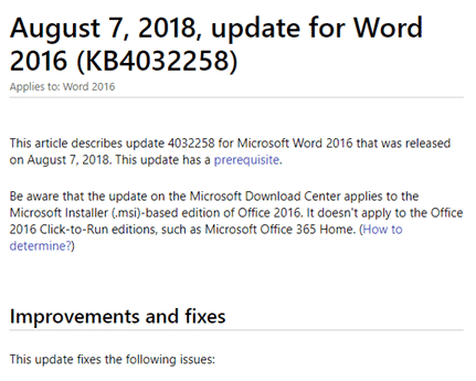big word 2016 update in the august 2018 updates for office microsoft office 23088 - Big Word 2016 update in the August 2018 updates for Office