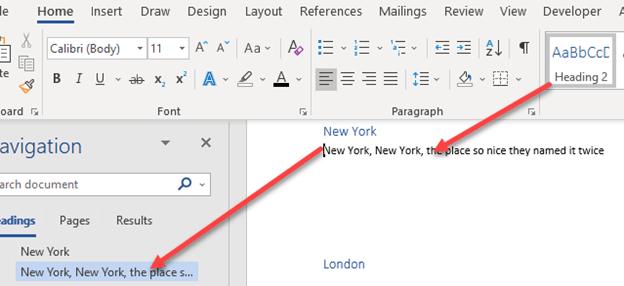 blank spaces in word navigation pane microsoft word 23969 - Blank spaces in Word navigation pane
