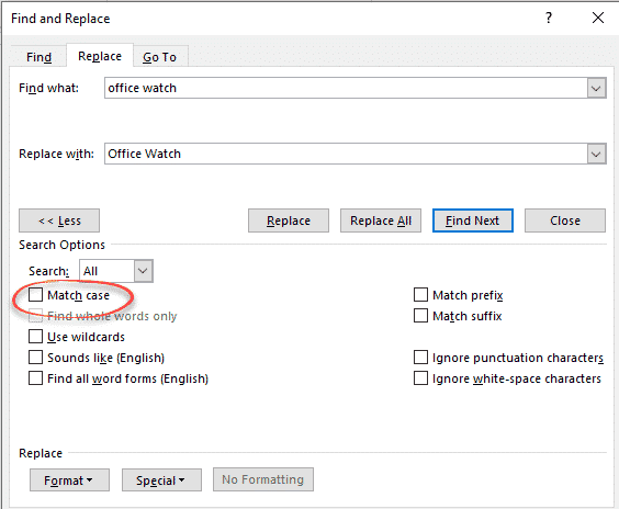 change case using words replace feature microsoft office 27169 - Change case using Word's Replace feature