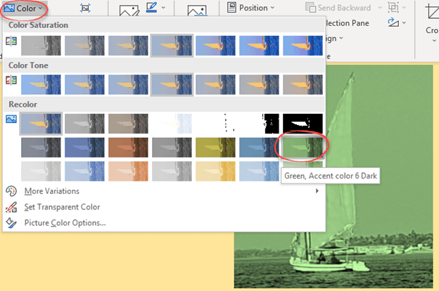 Change image color to a custom color in Office