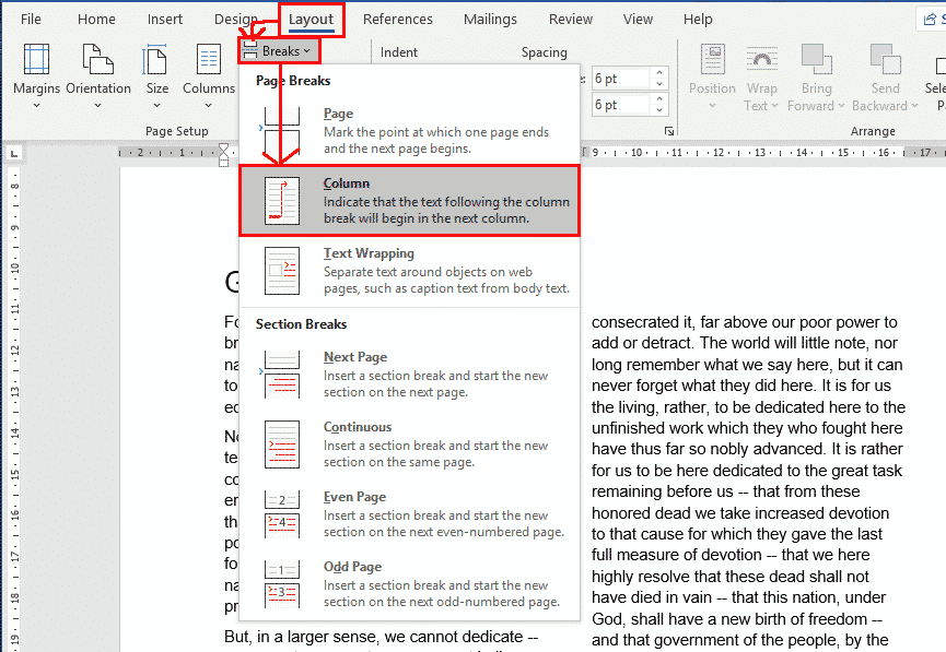 column breaks in word 37680 - Column Breaks in Word