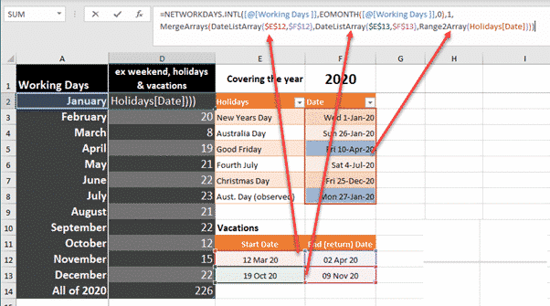 complete excel networkdays solution for holidays vacations microsoft office 35311 - Complete Excel NetworkDays() solution with holidays & vacations