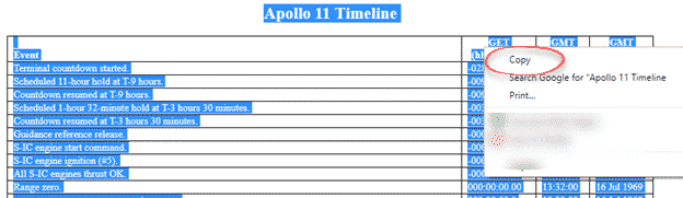 copy and paste web pages tables into excel apollo 11 timeline microsoft excel 29430 - Copy and Paste web pages & tables into Excel - Apollo 11 Timeline
