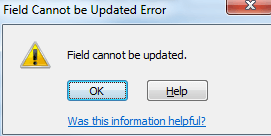 """Dealing with the """"Field Cannot be Updated"""" Error"""