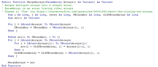 excel merge arrays into a single array with vba microsoft office 35003 - Excel merge arrays into a single array with VBA