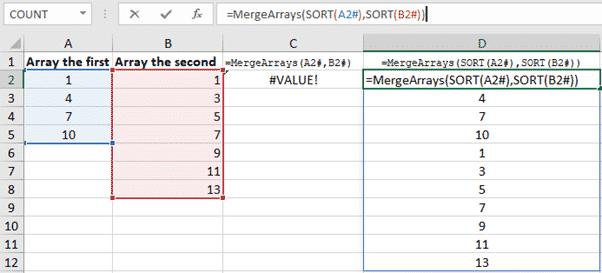 excel merge arrays into a single array with vba microsoft office 35006 - Excel merge arrays into a single array with VBA