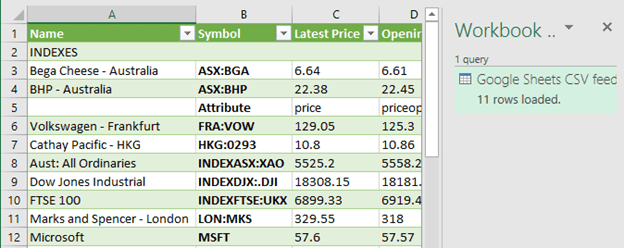 excel stock prices from google finance 10813 - Excel: stock prices from Google Finance