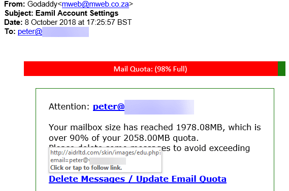 Fake email overlimit messages in Outlook