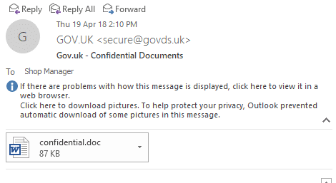 fake uk government email can show up in outlook and should be deleted 18454 - Fake UK government email can show up in Outlook and should be deleted