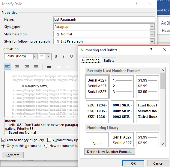 hidden numbering options in word microsoft word 16548 - Hidden Numbering options in Word