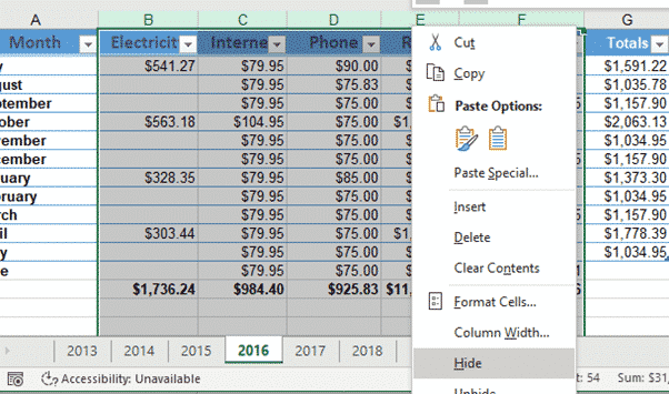 hiding columns and rows in excel microsoft office 31980 - Hiding Columns and Rows in Excel