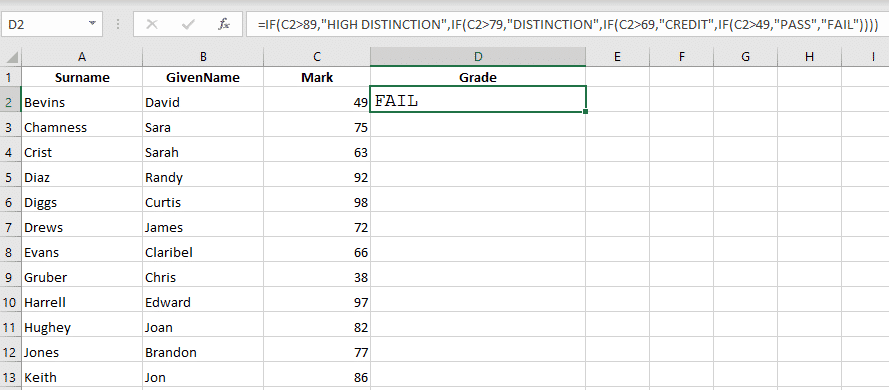 if and nested if statements in excel 33268 - IF and Nested IF Statements in Excel