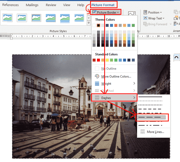 line ends on dashed picture borders in word and powerpoint 34825 - Line Ends on Dashed Picture Borders in Word and PowerPoint