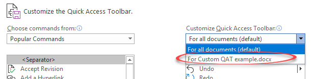 make a custom quick access toolbar for special documents in word 22640 - Make a custom Quick Access Toolbar for special documents in Word