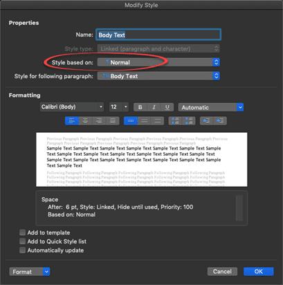Modifying Body Text style in Microsoft Word