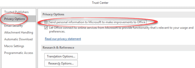 Worrying new data sharing options in Microsoft Office