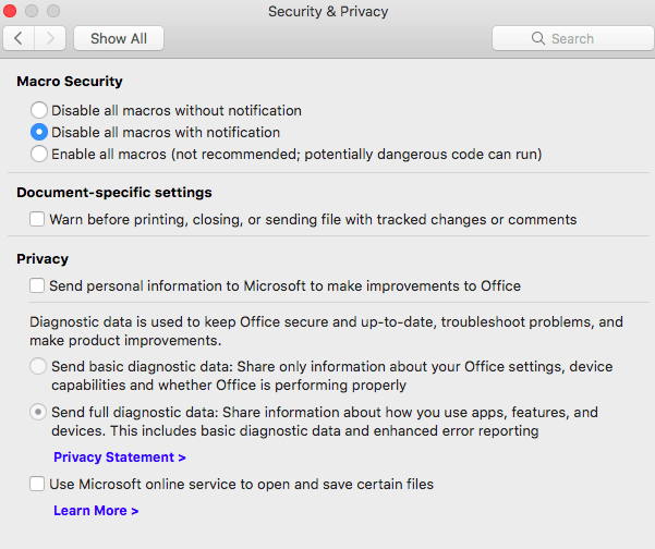 new diagnostic data sharing options in microsoft office office for mac 19007 - Worrying new data sharing options in Microsoft Office