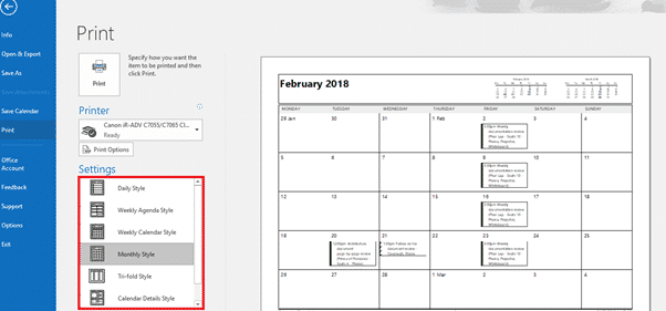 outlook print calendar options a daily weekly monthly plan on paper microsoft outlook 17633 - Outlook Print Calendar Options -a Daily/Weekly/Monthly plan on paper