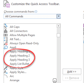 putting style buttons on words quick access toolbar microsoft word 23005 - Putting Style buttons on Word's Quick Access Toolbar