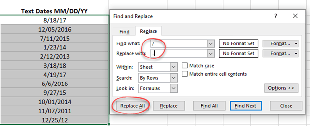 replacing text or separators in selected excel cells microsoft excel 24514 - Replacing text or separators in selected Excel cells