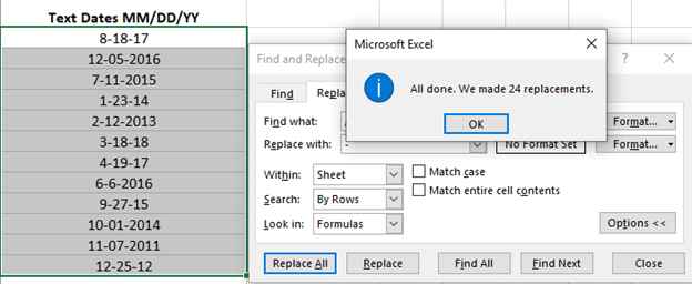 replacing text or separators in selected excel cells microsoft excel 24515 - Replacing text or separators in selected Excel cells