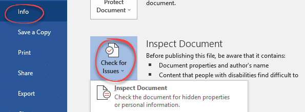 saving word document with automatic document inspector microsoft word 23799 - Saving Word document with automatic Document Inspector