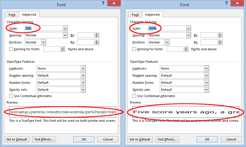 scaling text in word 36672 - Scaling Text in Word