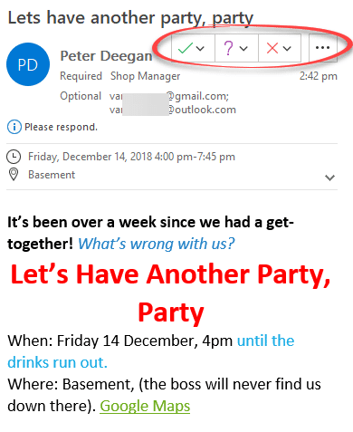 Send party invitations from Outlook