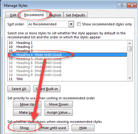 show a word style marked hide until used microsoft word 26973 - Show a Word style marked 'Hide until used'.