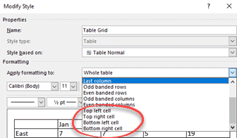 styles for individual table cells in word microsoft office 33727 - Styles for individual table cells in Word