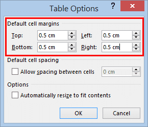 table cell margins and spacing options in word 37182 - Table Cell Margins and Spacing Options in Word