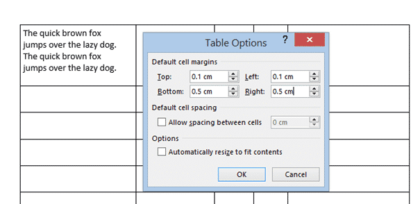 table cell margins and spacing options in word 37185 - Table Cell Margins and Spacing Options in Word