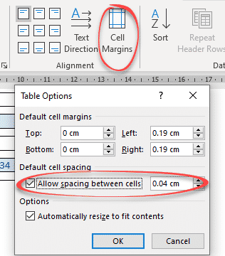 table cell margins and spacing options in word 37190 - Table Cell Margins and Spacing Options in Word