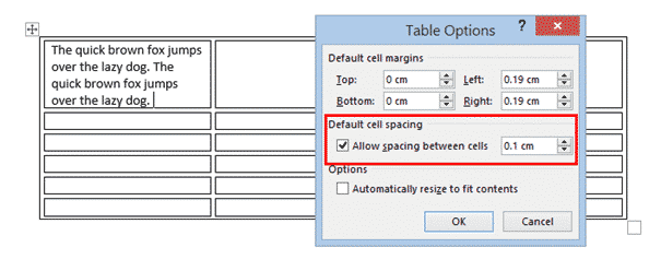 table cell margins and spacing options in word 37192 - Table Cell Margins and Spacing Options in Word