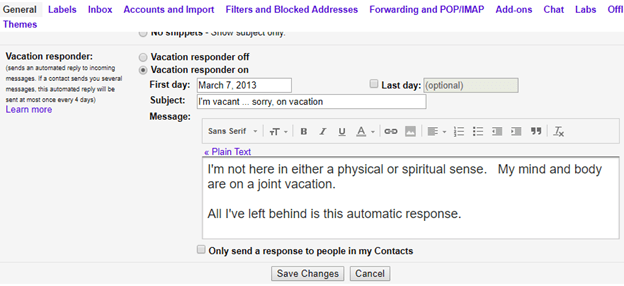 the best way to out of office or vacation message 15724 - The best way to 'Out of Office' or vacation message