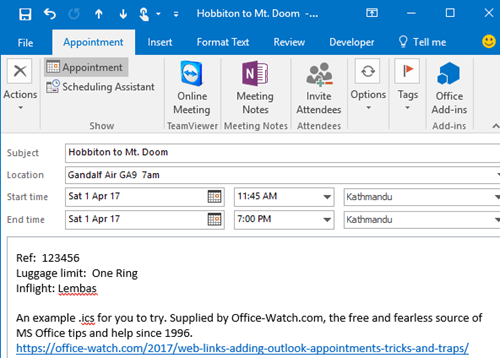 try adding a ics appointment into outlook 12349 - Try adding an .ics appointment into Outlook
