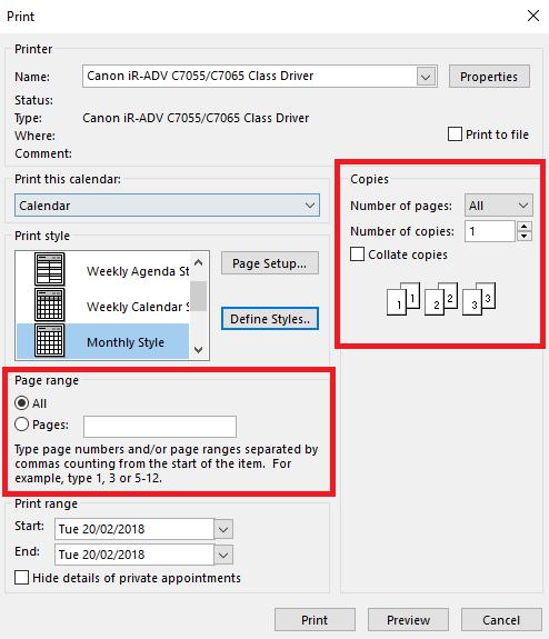 tweaking outlook printed calendars microsoft outlook 17615 - Tweaking Outlook Printed Calendars