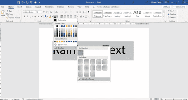 two ways to add gradient or rainbow text or background effects in word microsoft office 31111 - Two ways to add Gradient or Rainbow text or background effects in Word