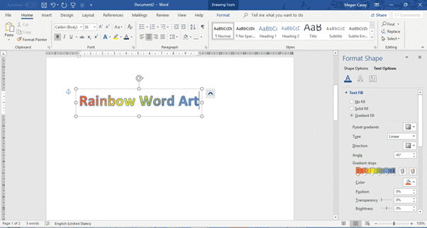 two ways to add gradient or rainbow text or background effects in word microsoft office 31123 - Two ways to add Gradient or Rainbow text or background effects in Word