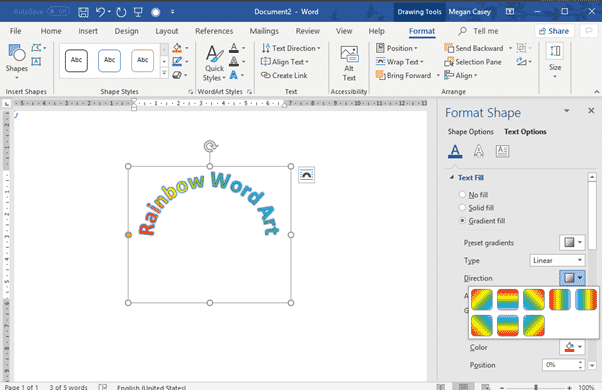 two ways to add gradient or rainbow text or background effects in word microsoft office 31127 - Two ways to add Gradient or Rainbow text or background effects in Word
