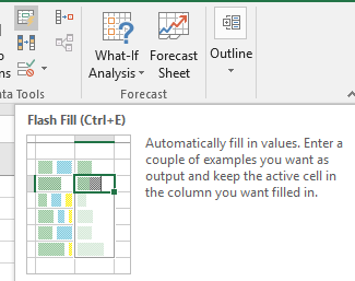 what happened to flash fill in excel microsoft excel 16621 - What happened to Flash Fill in Excel?