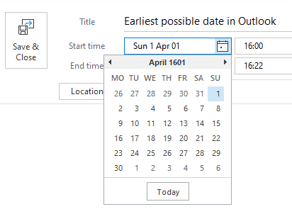whats the earliest date possible in outlook and workaround microsoft outlook 29552 - What's the earliest date possible in Outlook and workaround.