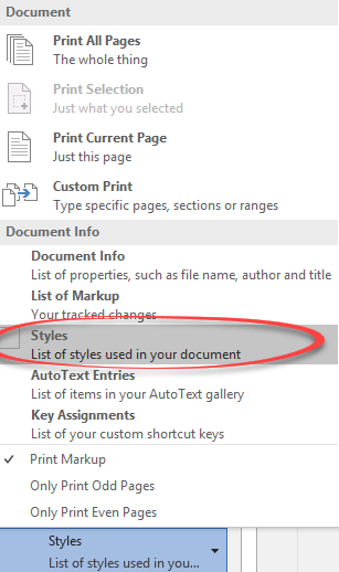 Word: get a list of styles in a document