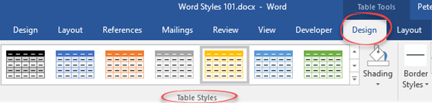 word types of styles available 11908 - Word - types of Styles available