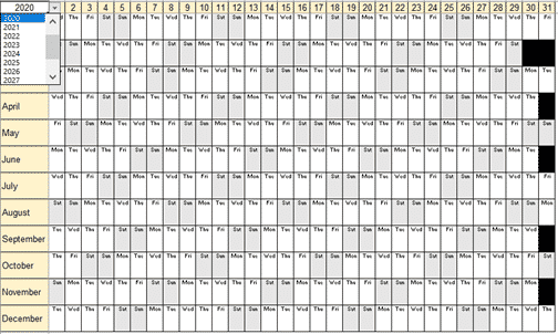 yearly calendar for office watch readers microsoft excel 33832 - Yearly Planner / Calendar for Office Watch readers