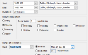 Repeating Outlook Appointments 1 300x188 - Office Watch Microsoft Outlook Word Excel Powerpoint Access Teams Onenote