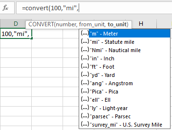 Pasted into Excels CONVERT function for metric and more - Excel's CONVERT function for metric and more
